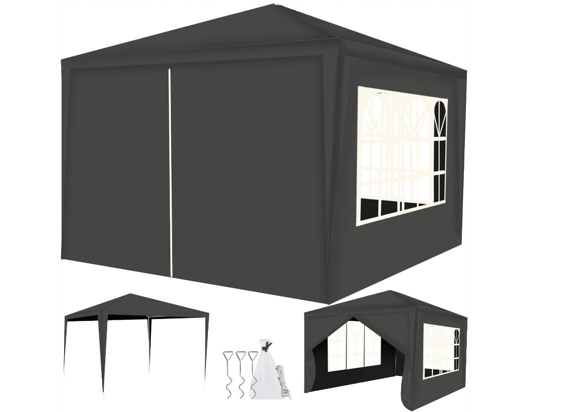 Malatec 12878 Záhradný párty stan 3 x 3 m + 4 bočné steny sivý