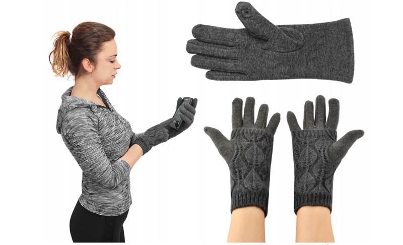 ISO 6412 Zimní rukavice na dotykové displeje 2v1 šedé