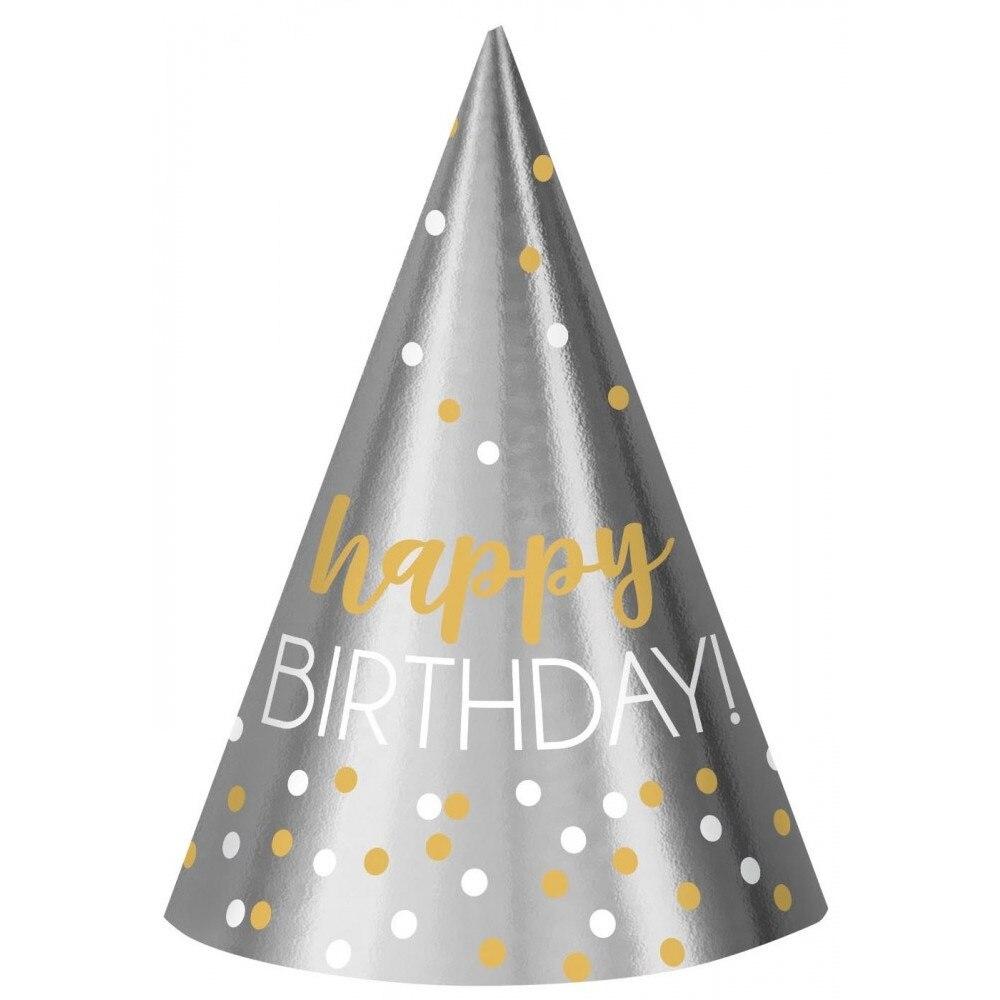 Javoli Papierová párty čiapočka Happy Birthday 12 ks