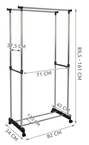 ISO 5346 Nastavitelný dvojitý stojan na oděvy se 4 kolečky a 2 tyčemi 7