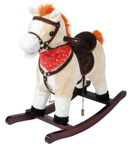 ISO 4592 Houpací kůň se zvuky - béžový 74 cm