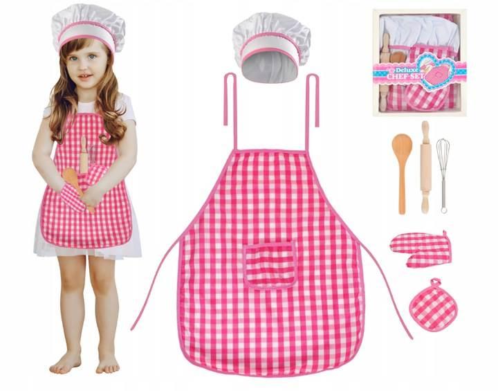 ISO 6083 Detská sada kuchynská zástera, čiapky a rukavice
