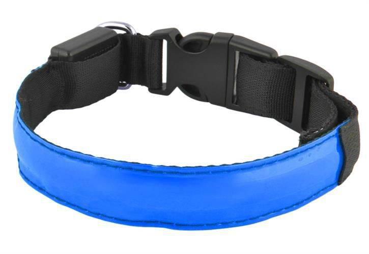 Led svítící obojek S - modrý