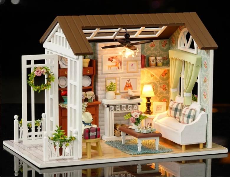 DIY KX6995 Drevený domček pre bábiky salón