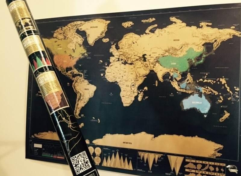 Stírací mapa světa Deluxe 88 x 52 cm černá