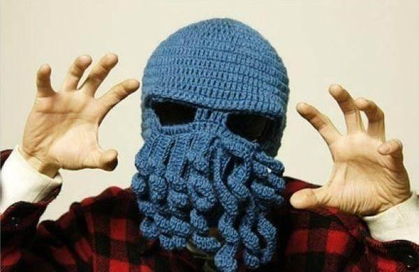 Master Pletená čepice kukla chobotnice modrá