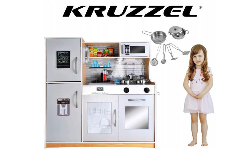 Kruzzel 9151 Dětská dřevěná kuchyňka s příslušenstvím XXL světle hnědá