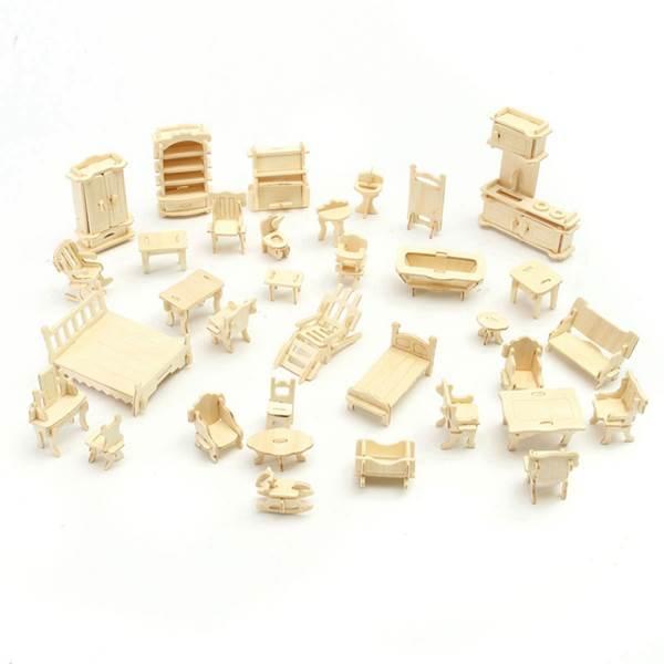 Kruzzel 9423 3D puzzle nábytok pre bábiky 34 ks