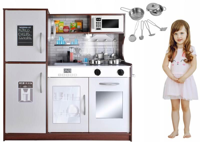Kruzzel 9150 Dětská dřevěná kuchyňka s příslušenstvím XXL hnědá2