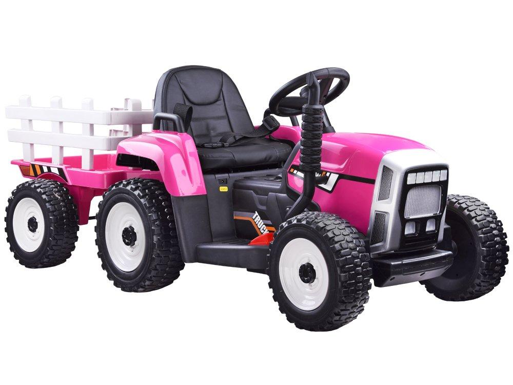 Joko PA0242 RO Elektrický traktor s vlečkou růžový