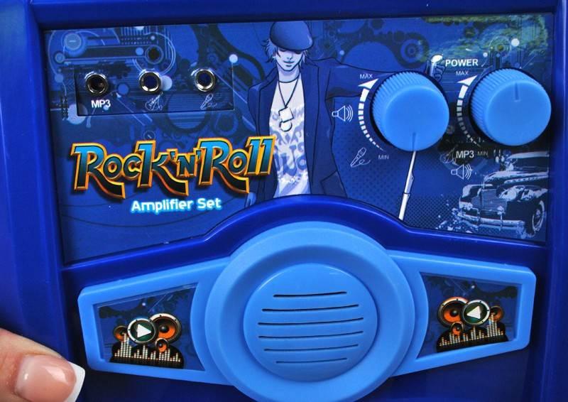 Detská rocková elektrická gitara na batérie + zosilňovač a mikrofón Blue6