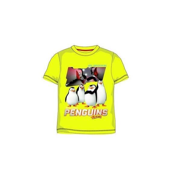 Javoli Detské tričko krátky rukáv Tučniaci z Madagaskaru veľ. 122 žlté