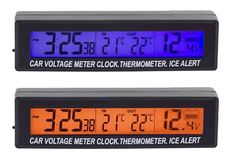 APT AG97A  3v1 Teplomer, hodiny, voltmeter do auta s externým senzorom teploty