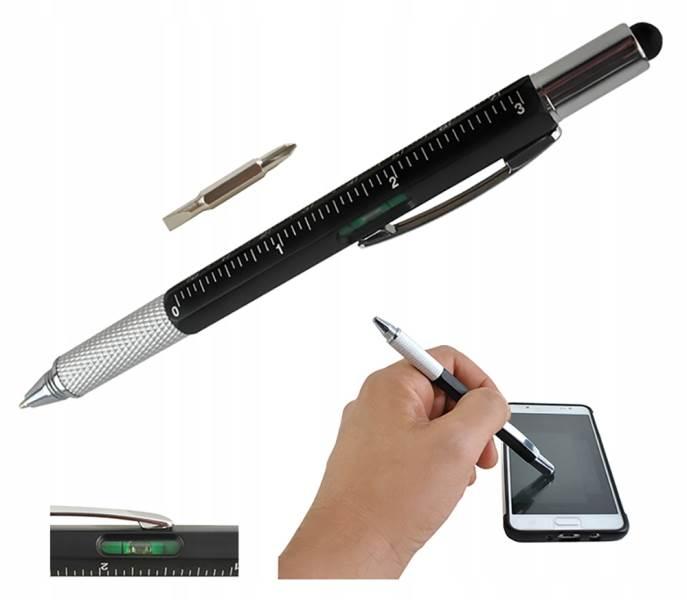 ISO 6337 Viacúčelové pero 6 v 1 čierna