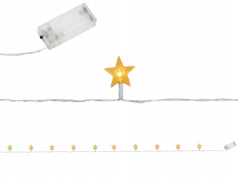 ISO 7107 Světelný řetěz na baterie hvězdičky 10 LED teplá bílá 165cm