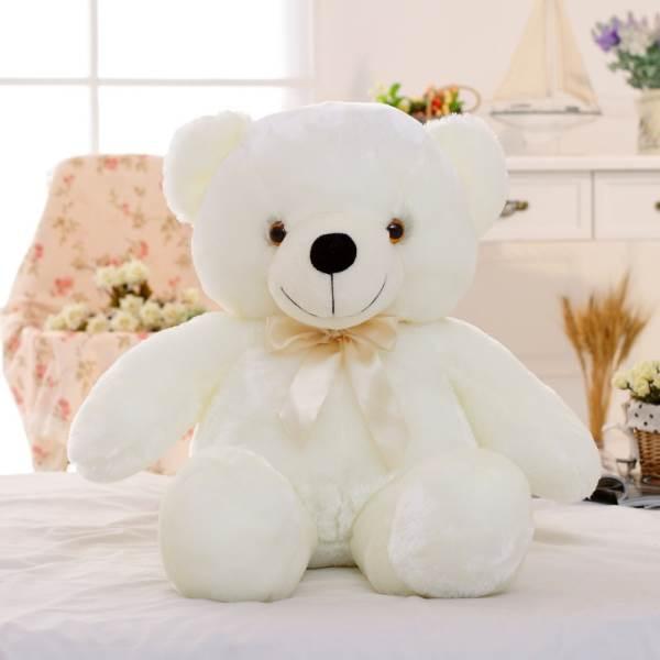 KIK Plyšový LED medvěd svítící 50 cm bílá