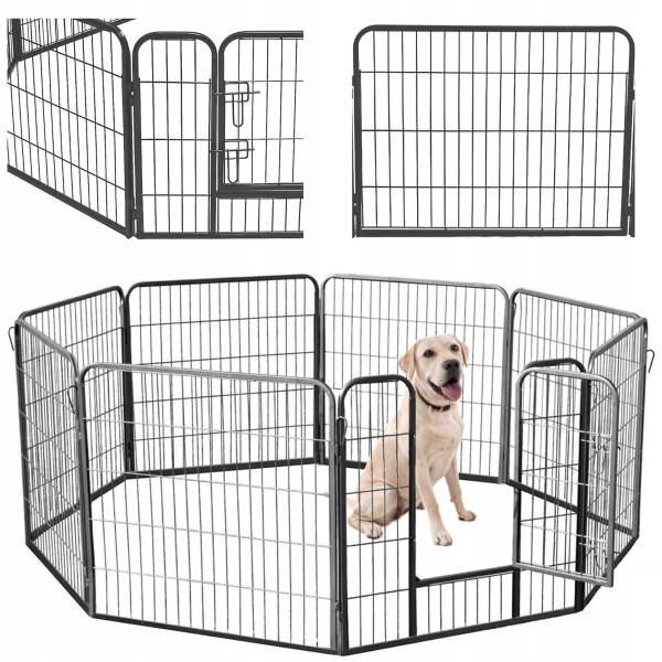 Malatec 9041 Kovová ohrádka pre psíkov a šteniatka 8-dielna 80 x 80 cm1