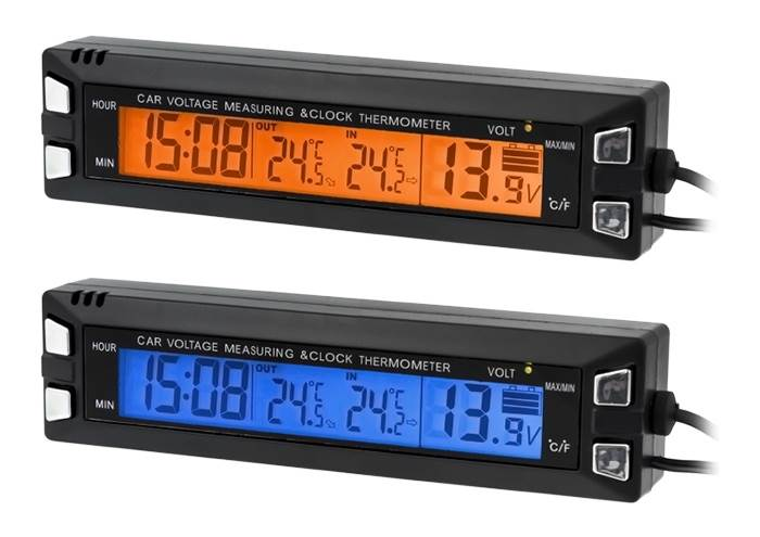 APT 3v1 Teplomer, hodiny, voltmeter do auta s externým senzorom teploty AG97
