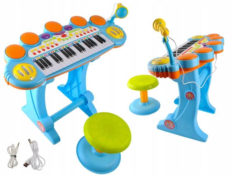 ISO 2751 Elektronické klávesy s mikrofonem a stoličkou modré