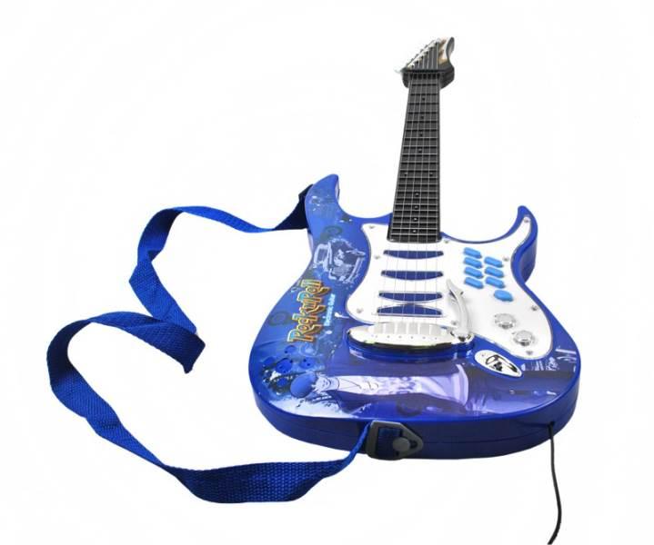 Detská rocková elektrická gitara na batérie + zosilňovač a mikrofón Blue7