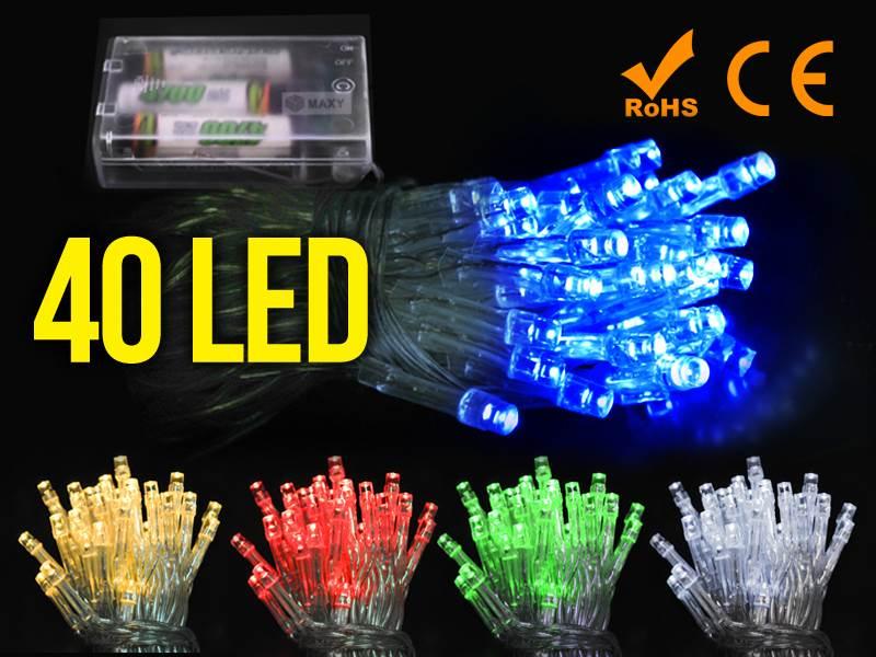 ISO Vianočná reťaz na batérie 40 LED modrá dĺžka 5m1