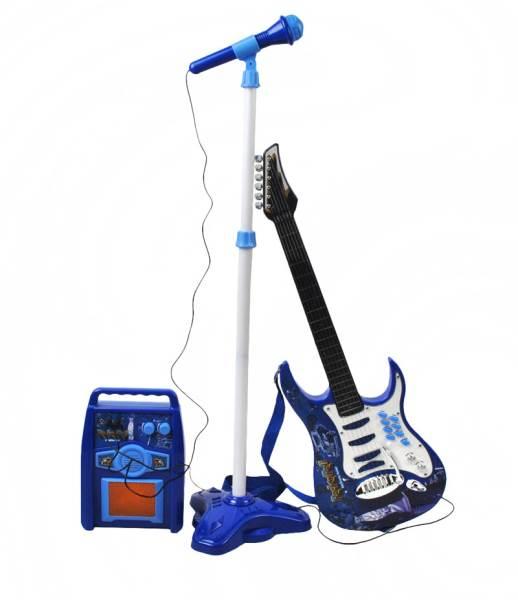 Detská rocková elektrická gitara na batérie + zosilňovač a mikrofón Blue3