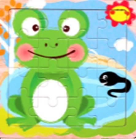 KIK Drevené puzzle Žaba 16 dielikov