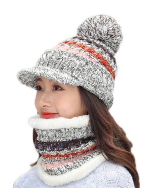 APT Dámska zimná čiapka s nákrčníkom šedá1