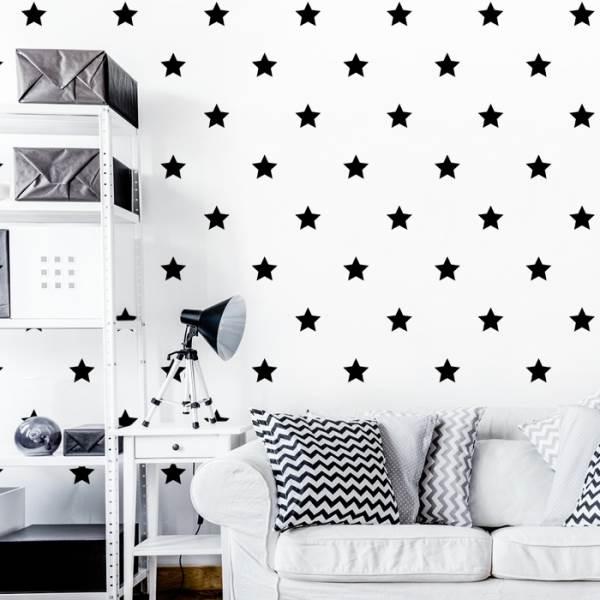 KIK KX7962 Nalepovacie hviezdičky na stenu čierne
