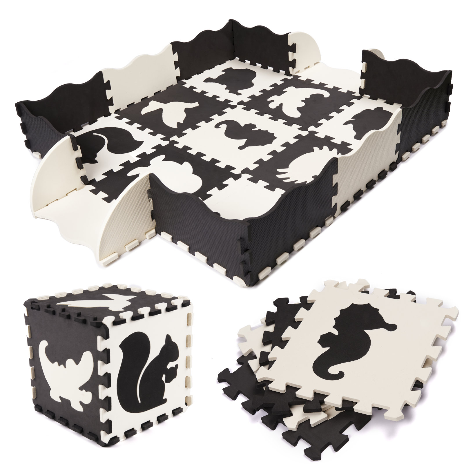 KIK Kontrastní pěnové puzzle 30 x 30 cm, 25 ks černá, krémová