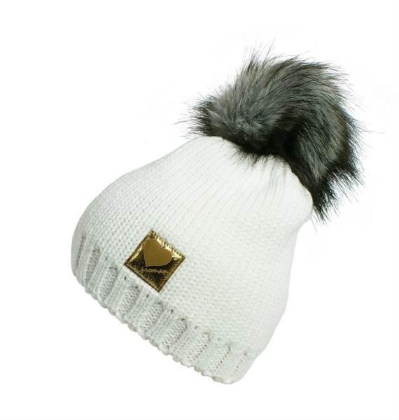 Proman Zimná čiapočka s brmbolcami biela