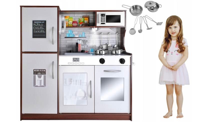 Kruzzel 9150 Dětská dřevěná kuchyňka s příslušenstvím XXL hnědá