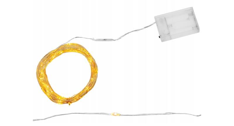 ISO 7266 Světelný řetěz na baterie 100 LED teplá bílá 10m
