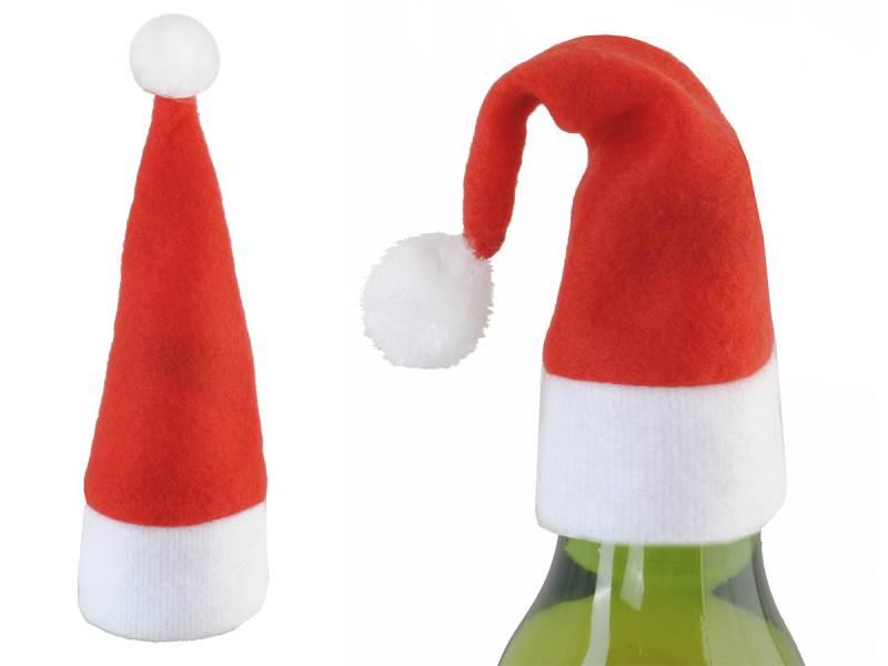 Vánoční dekorace čepička Santa Clause na Láhve