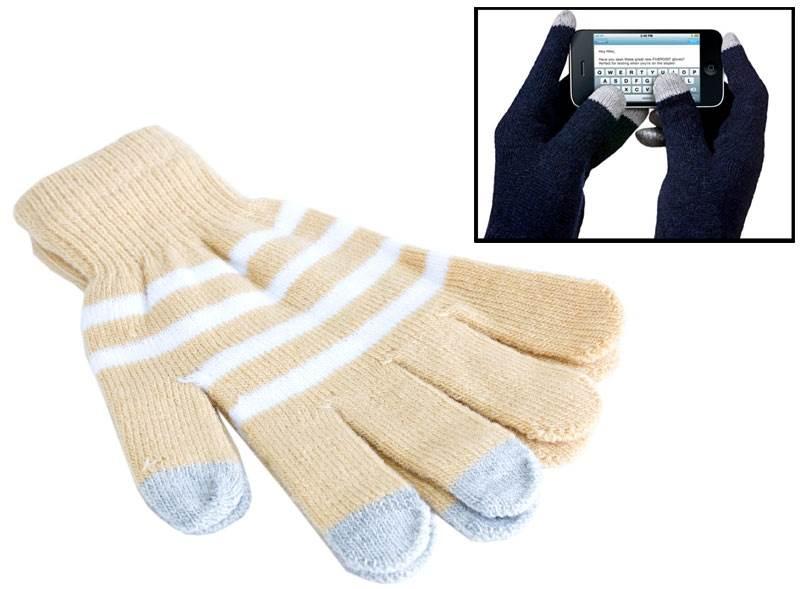 APT Rukavice na ovládání dotykových displejů béžové