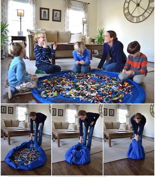 Toy Storage Bag 2v1 hracia deka vak na hračky 140cm