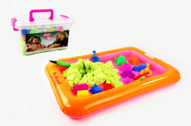 PlaySand Magický tekutý písek 1000g + formičky + pískoviště bazar