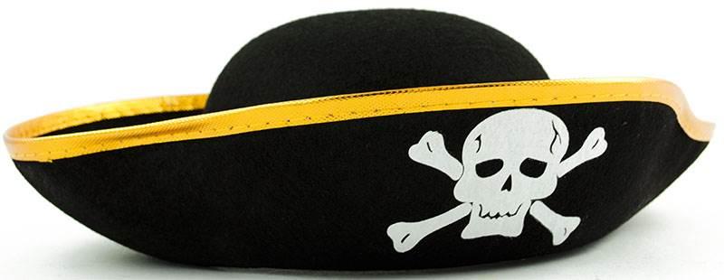 Pirátsky klobúk s lebkou čierny