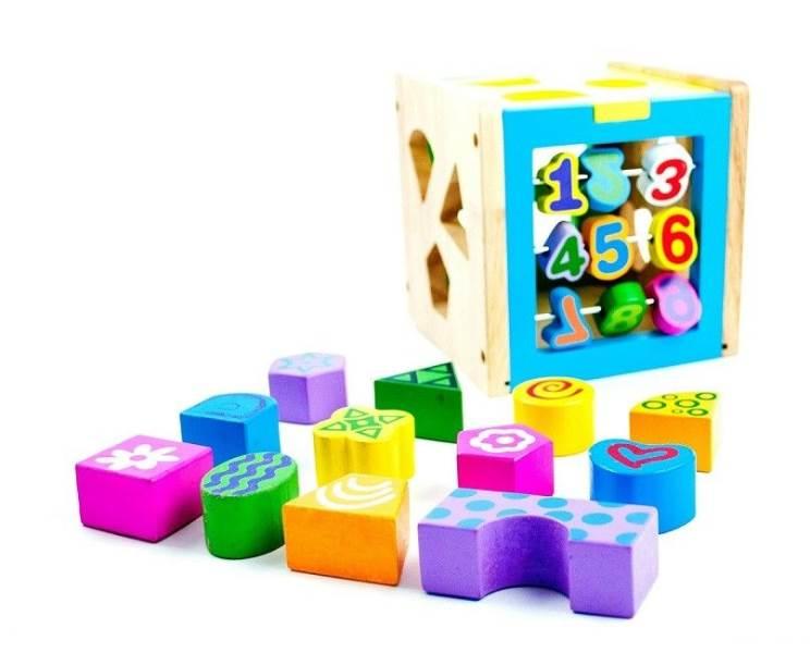 KIK Dřevěná kostka s tvary a čísly