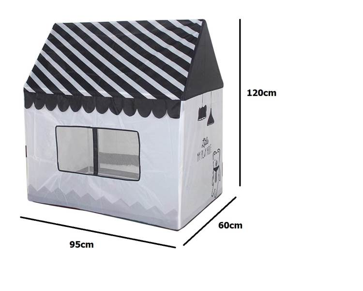 KIK KX7932 Detský textilný domček čiernobiela3