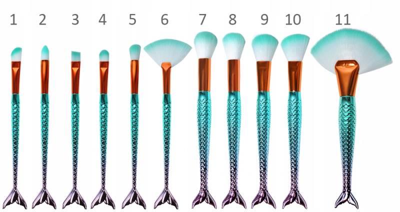 ISO 6604 Sada kosmetických štětců siréna - 11 kusů3