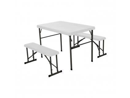 Malatec 9998 Campingový Stôl + 2 x Lavica biely1