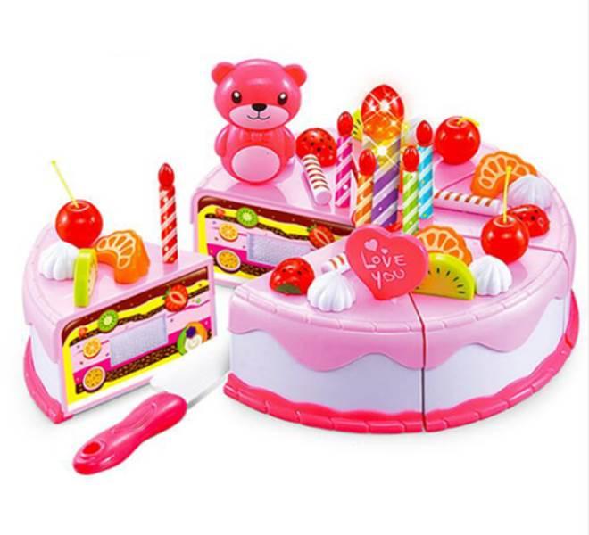 DIY KX7595 Dětský plastový narozeninový dort růžový 38 dílů