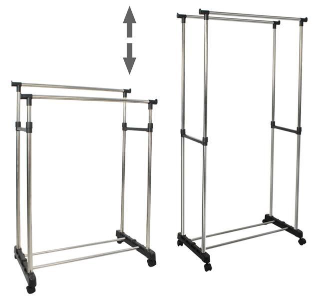 ISO 5346 Nastavitelný dvojitý stojan na oděvy se 4 kolečky a 2 tyčemi 6