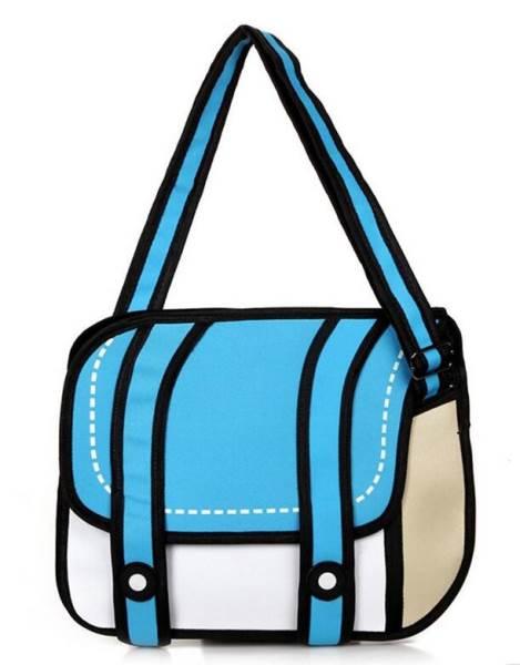 KIK KX7720 3D kreslená kabelka modrá