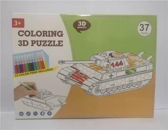 KIK Papírové 3D puzzle s barvičkami Tank 37 dílů