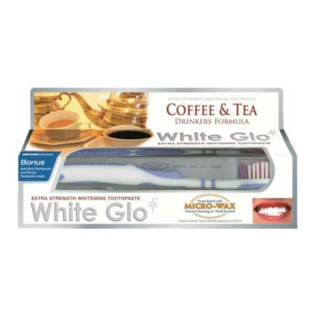 WHITE GLO Bělící pasta Coffee and Tea 150g + kartáček na zuby