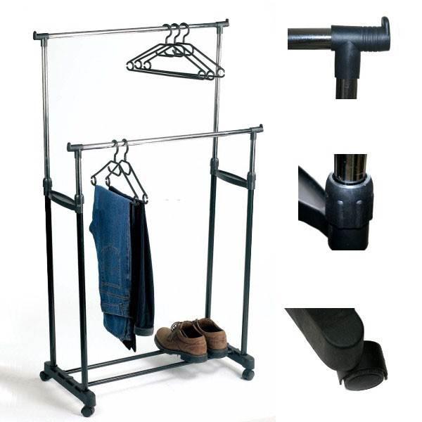 ISO 398 Nastavitelný dvojitý stojan na oděvy se 4 kolečky a 2 tyčemi