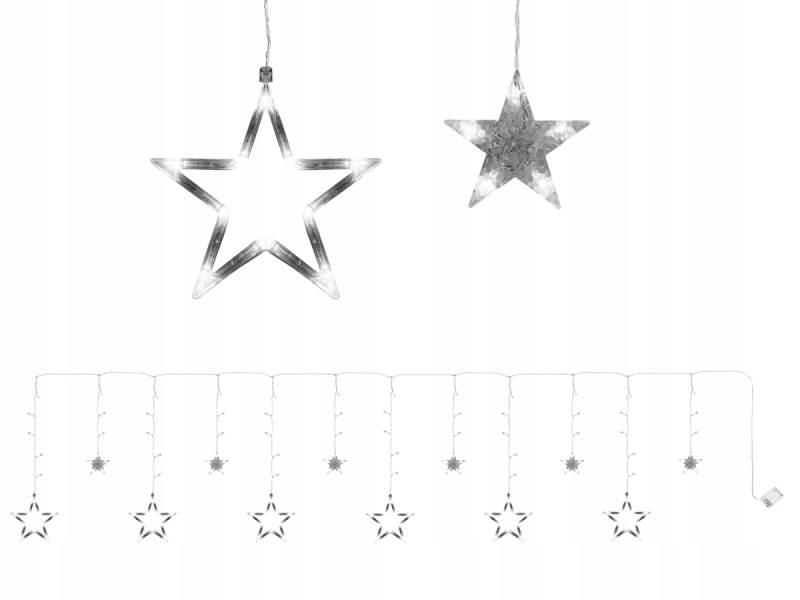 ISO 7112 Světelný závěs hvězdičky 138 LED studená bílá