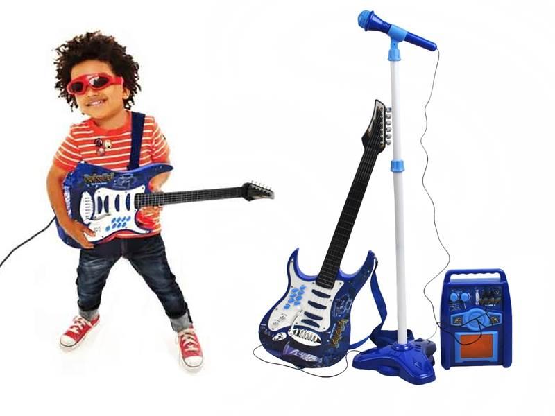 Detská rocková elektrická gitara na batérie + zosilňovač a mikrofón Blue1